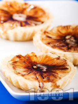 Дребни сладки тарталети от бутер тесто с ананас и сирене маскарпоне - снимка на рецептата